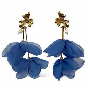 Zara Light Blue Organza Statement Earrings
